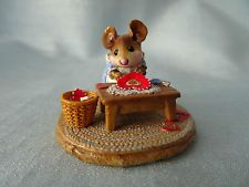 Vtg Wee Forest Folk 1995 Clementine M-204 Mouse Making Valentines Retired