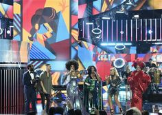 Modesto Lacen, from left, Maluma, Jeimy Osorio, La India, Yuri, and Aymee Nuviola perform a tribute to Celia Cruz at the Latin American Music Awards at the Dolby Theater on Thursday, Oct. 8, 2015, in Los Angeles.