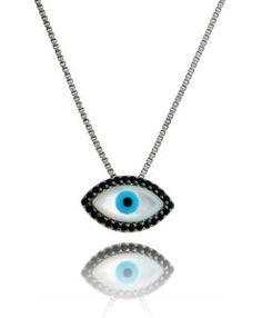 colar olho grego com zirconias negras rodio negro
