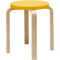Artek Outlet - Alvar Aalto Stool 60 - Birch/Yellow Seat (4.950 CZK) ❤ liked on Polyvore featuring home, furniture, stools, yellow furniture, birch wood furniture, artek furniture, artek and birch furniture