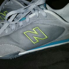 New Balance shoes Size 7.teal, neon green and gray.  Worn alot but still have alot of life left!!! Offers welcome ! New Balance Shoes Athletic Shoes