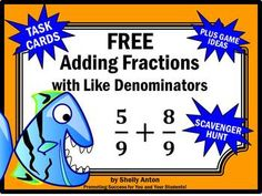 Adding Fractions: You will receive 6 free fraction task cards focusing on adding fractions with like denominators. You will also receive a student response form and answer key. 8 pages 4th Grade Fractions, Adding Fractions, Fourth Grade Math, Third Grade, Fraction Activities, Free Math Worksheets, Special Education Math, Kids Education, Math Task Cards