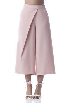 Side Pleated Culotte Pants Pink