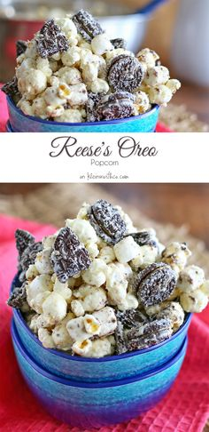 Reese's Oreo Popcorn - oh yummy!! simple popcorn recipe - packed full of YUMMY goodness. Love quick no-bake treats!! found on kleinworthco.com