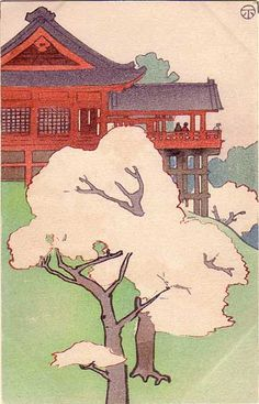 Postcard by Nakamura Fusetsu (1866-1943). Cherry Blossoms at Kiyomizudo from the series Six Views of Tokyo in the Curved-line Aesthetic. Late Meiji era. 90 mm x 141 mm