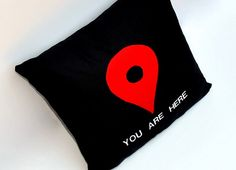 You Are Here Map Pin Black Pillow $32