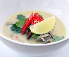 Thai Chicken & Coconut Soup | ต้มข่าไก่ - Rooftop Table | food inspiration for dinner parties Recipe in link.