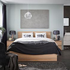 Simple Home Decor Idea MALM Bed frame, high - white stained oak veneer - IKEA Cama Malm Ikea, Ikea Ikea, Ikea Bedroom, Home Decor Bedroom, Bedroom Ideas, Men's Bedroom Design, Master Bedroom, Bedroom Small, Bedroom Inspiration