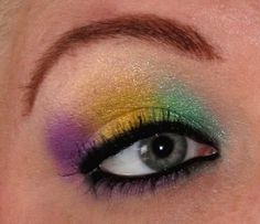 https://flic.kr/p/63mT1D | Mardi Gras Eyes 2 | All Beauty from the Earth loose mineral shadows....  www.beautyfromtheearth.com  My eyes looked better before I went to work but I didn't have time to take and upload a pic...soooo 14 hrs later I think they'll pass for ok! ha ha