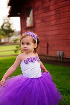 Newborn Size 9 Purple and White Floral Tutu by krystalhylton