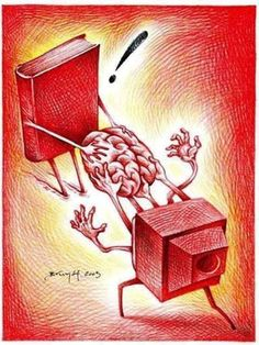 Fight pseudo: books or television / Pelea pseudointelectual: libros o televisión (ilustración de Brunóf) Pictures With Deep Meaning, Satirical Illustrations, Meaningful Pictures, Deep Art, Social Art, Art Et Illustration, I Love Books, Oeuvre D'art, Book Worms