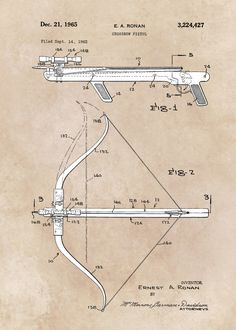 Displate Poster patent art Ronan 1965 Crossbow pistol patent #patents #sport #crossbow #decor #decoration #active #illustration