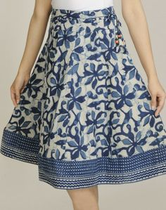 Cotton Dabu Combination Printed Short Skirt
