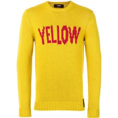 Fendi Yellow slogan pullover sweater ($650) ❤ liked on Polyvore featuring men's fashion, men's clothing, men's sweaters, mens yellow sweater, mens woolen sweaters and mens wool sweaters
