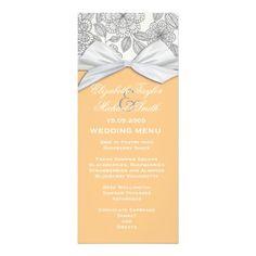 Luxury Grey Floral Damask Coral Wedding Menu Invites