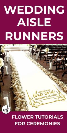 Different styles of wedding aisle runners. Step by step flower tutorials for bridal bouquets, corsages, boutonnieres, church decorations, candelabra f. Country Church Weddings, Church Wedding Decorations Aisle, Aisle Runner Wedding, Wedding Ceremony Backdrop, Wedding Chairs, Wedding Centerpieces, Aisle Runners, Decor Wedding, Beach Wedding Flowers