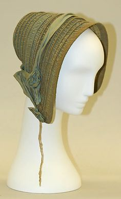 c. 1845 bonnet, American, cotton, gift of Mrs. Helen G. Sahier, 1939
