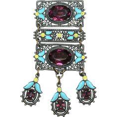 Vintage Czech Enamel Jeweled Brooch Pin Purple Stones