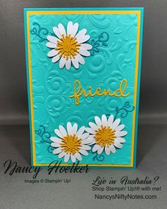 CASE'd from Jo Ann Hewins #nancysniftynotes Medium Daisy Punch by Stampin' Up! Image C, Australia Living, Your Location, My Stamp, Flourish, Card Stock, Stampin Up, Daisy, Paper Crafts