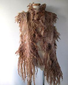 Felt Fur Curly scarf Rustic Brown beige Hand Felted от galafilc