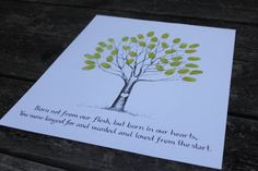 Adoption shower fingerprint tree, love the colors, maybe not the quote?