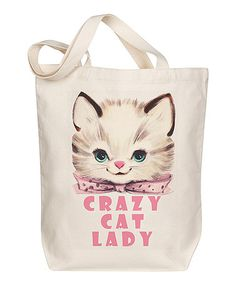 Love this 'Crazy Cat Lady' Tote on #zulily! #zulilyfinds