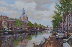 Leiden, NL met Mare Kerk en Mare Brug aan de Oude Singel, Bram de Jong