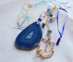 Anchor gemstone pendant voyage gift yacht club blue aqua | Etsy