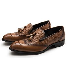 Crocodile Grain brown loafers with tassel, genuine leather