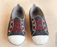 Купить домашние валяные тапочки из натуральной шерсти Кеды - серый, подарок, тапочки домашние