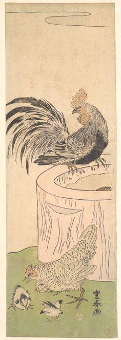 雄鶏 雌鶏 雛 おんどり めんどり ひよこ Ondori Mendori Hiyoko Cock, Hen, and Chickens 歌川 豊春 うたがわとよはる Utagawa Toyoharu