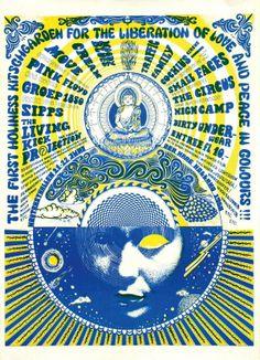 Poster voor The First Holy Kitchgarden Festival dat in 1968 in de Houtrusthallen werd gehouden. Het eerste grote popfestival in Nederland. Armand Perrenet organiseerde dit festival. Deze poster daarvoor is ook van zijn hand en is één van meerdere die hij ervoor maakte.