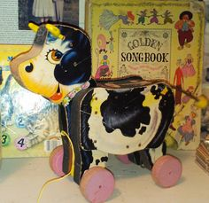 Vintage Fisher Price Moo Cow  Pull toy via Etsy