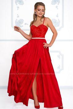 CELIN - długa sukienka z rozcięciem na nodze czerwona Celine, Talia, Formal Dresses, Model, Red, Fashion, Formal Gowns, Fashion Styles, Moda