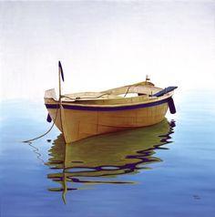 """Jorge Duarte, """"Blau blau"""" óleo sobre tela, 100 x 100 cm."""