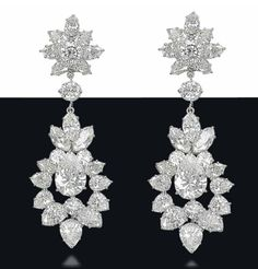 A pair of diamond ear pendants, by Cartier.Photo Christie's Image Ltd 2013