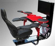 Chair ergonomic gaming computer workstation design With all those little tables... perfect for me!!!