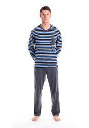 Pijama manga larga rayas cuello pico. Pantalon largo liso.