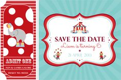 Circus party save the date circus birthday, circus theme, circus party, Circus Birthday, Circus Theme, Circus Party, 4th Birthday, Birthday Ideas, Save The Date Invitations, Save The Date Cards, Birthday Invitations, Casino Night Party
