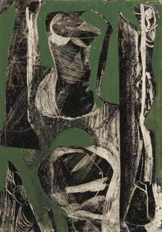 'Fossil' (1952) by British artist Peter Lanyon. Offset drawing with oil on paper, via Sotheby's