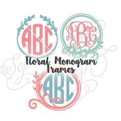 Floral Round Monogram Frames SVG file for by SophiesPaperHouse
