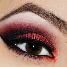 Black & red eyeshadow with brown eyes = <3