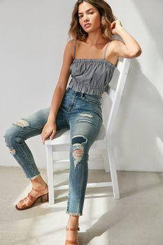 Slide View: 1: BDG Twig Crop High-Rise Skinny Jean - Distressed Patch