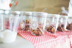 Mmm, individual jars of granola on a yogurt bar -- so cute for a baby shower!