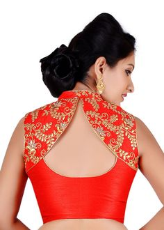 e7512e208ba03 Salwar Studio Womens Red Color Dupion Silk Readymade Embriodered Saree  Blouse Saree Blouse Neck Designs