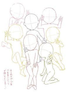 Draw Hairstyles 일러스트 Happy again★ Drawing Base, Manga Drawing, Drawing Sketches, Chibi Sketch, Anime Sketch, Base Anime, Anime Base Chibi, Anime Group Base, Photo Manga