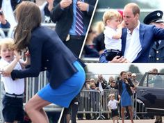 PRINCE George was spotted having a toddler tantrum at a military air show when he appeared with the Duke and Duchess of Cambridge today.