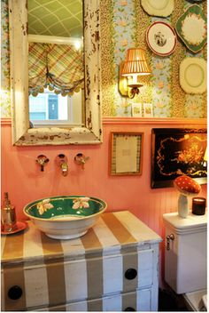 """This looks like a repurposed dresser & a large bowl... neat idea... this whole house has neat looking areas - but would stress me out being so """"cluttered""""...."""