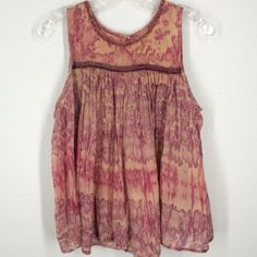 Anthropologie Holding Horses tie dye tank top sz 8 This top is a crop top tissue weight material. Very clean! Cute trim details. Anthropologie Tops Tank Tops