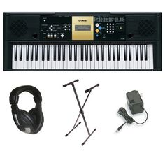 Yamaha YPT-220 61 Key Personal Keyboard with AC Adapter, Deluxe Keyboard Stand and Professional Headphones ** Read more  at the image link.